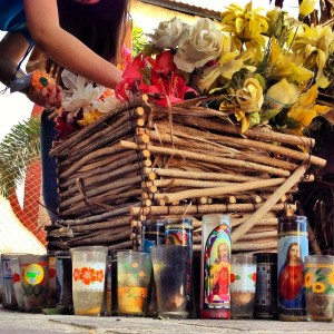 Palo de Arco basket and votive candles.