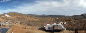 Panorama of our spot. It's dusty, I admit.