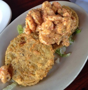 Fried green tomatoes and shrimp remoulade.