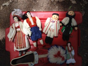 Dolls Elaine used for teaching kids about Balkan dancing.