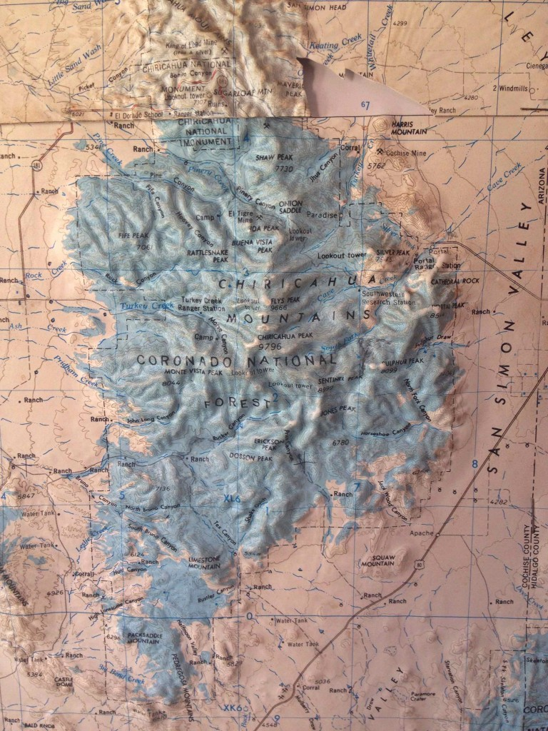 Can you find Portal on the map? This is the Chiricahua Mountain range.