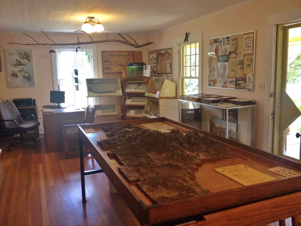 The main room. The table in the foreground holds the 3-D map of the Chiricahua Mountains.
