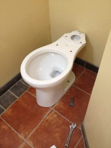 Mounted toilet bowl. Ready for the next step.