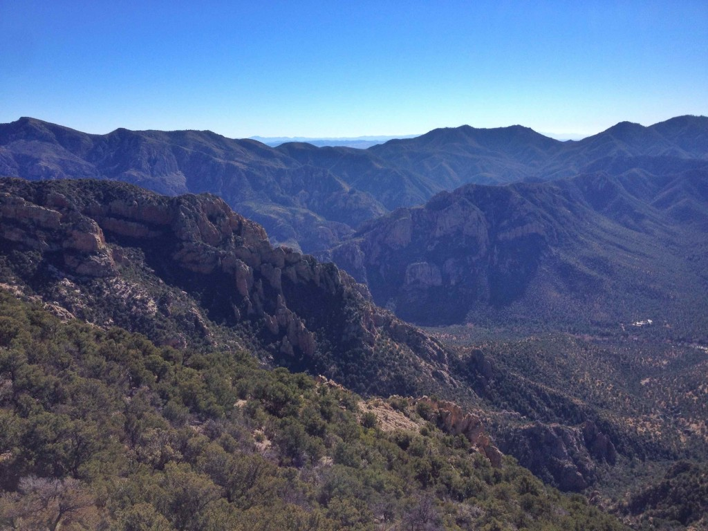 The view from the top into the Chiricahua Wilderness.