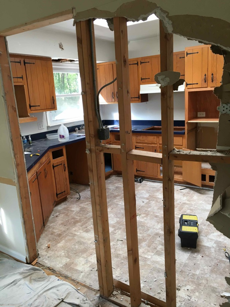 Here's the Kitchen thru the new aperture. All of this will be replaced.