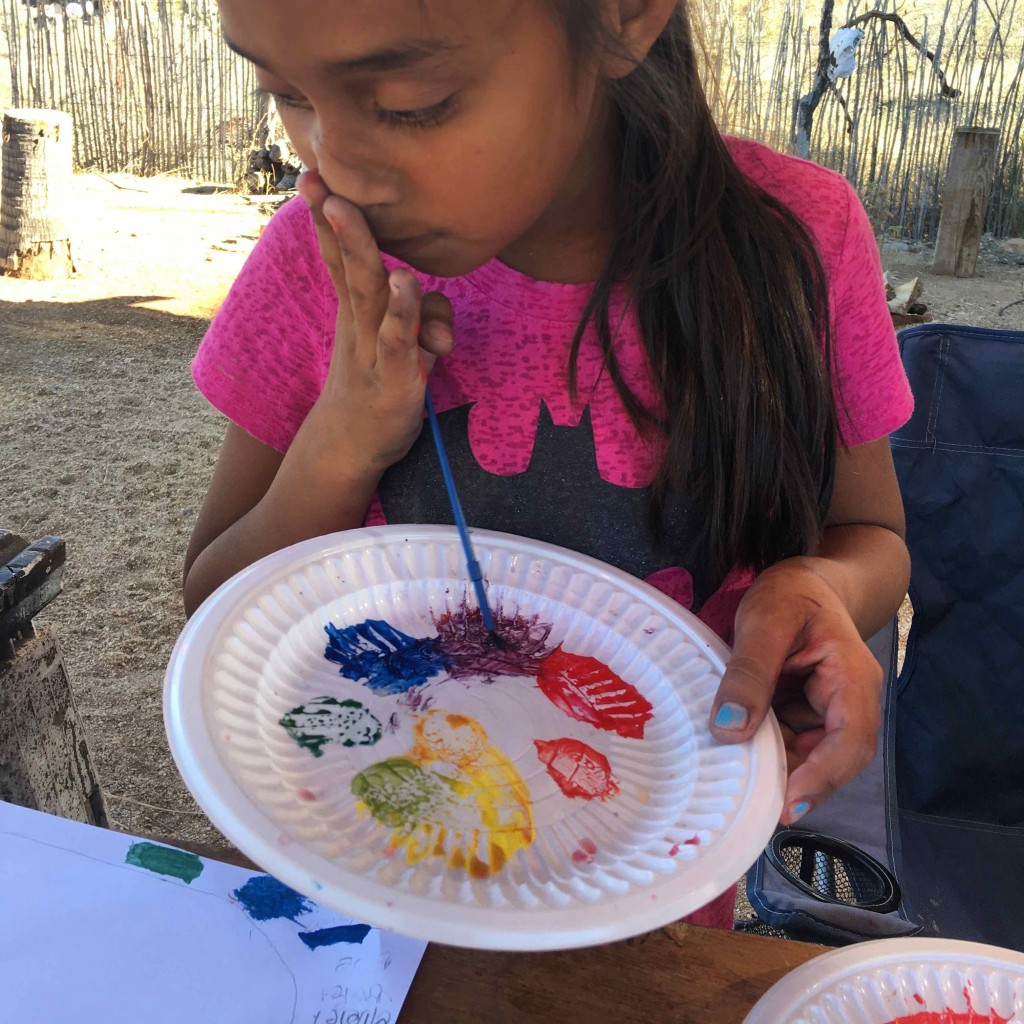 Frixia at work on her color wheel