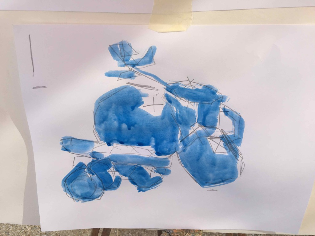 The teachers example. Drawing with no curved lines, showing the light, painting with one color.