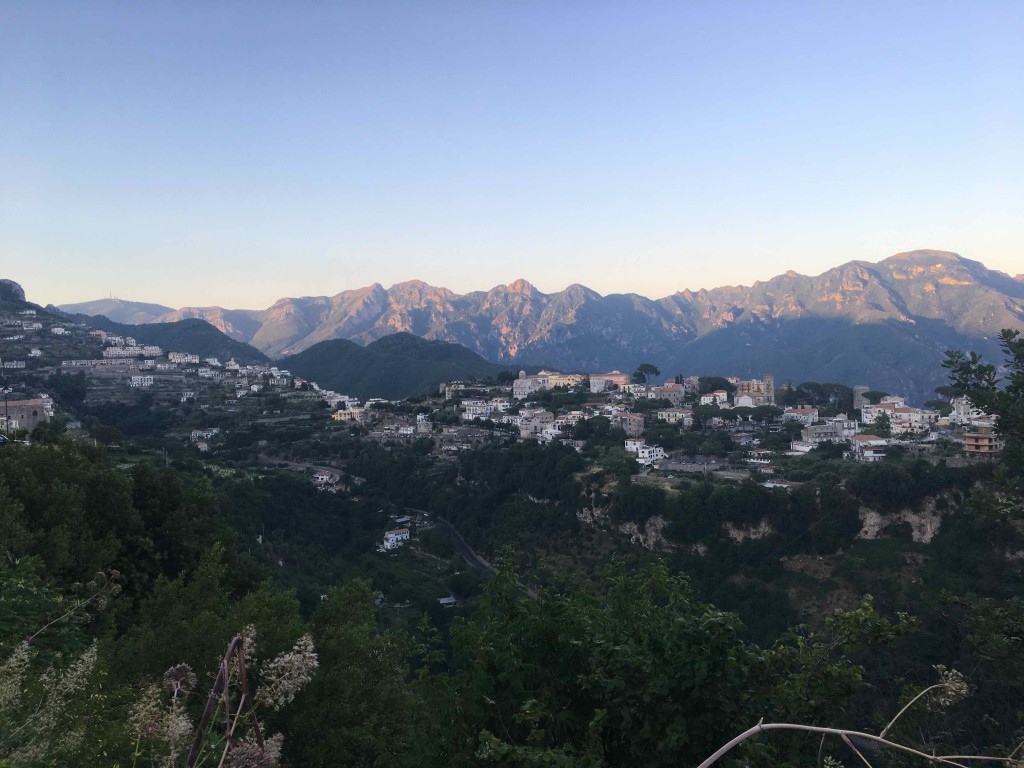 The evening glow above Ravello.