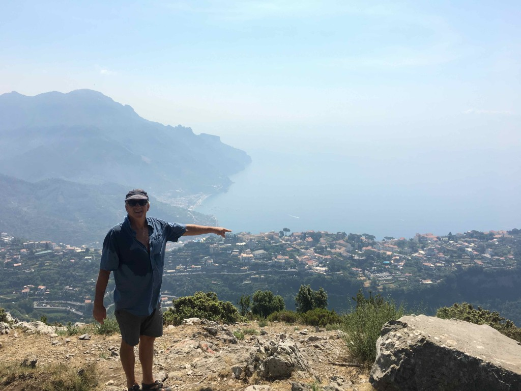 Pointing down to Ravello.