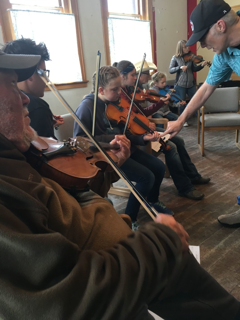 Fiddle Class. Practicing the shuffle.
