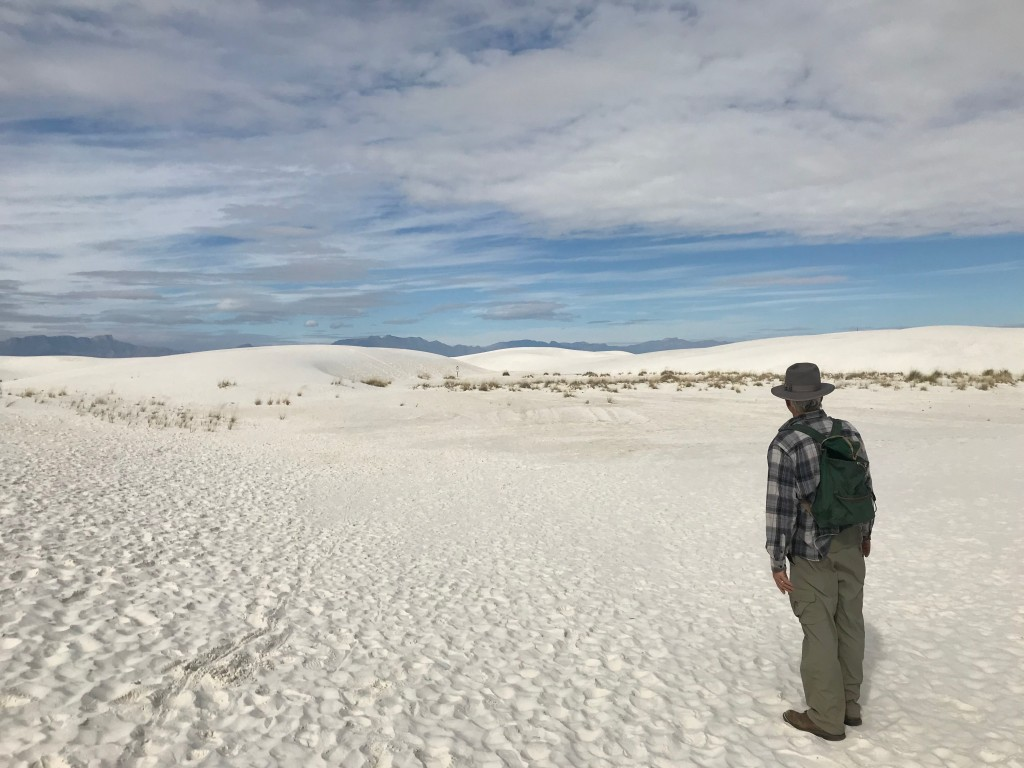 The flat sky and very white sands made depth perception difficult. We carefully walked from marker to marker.