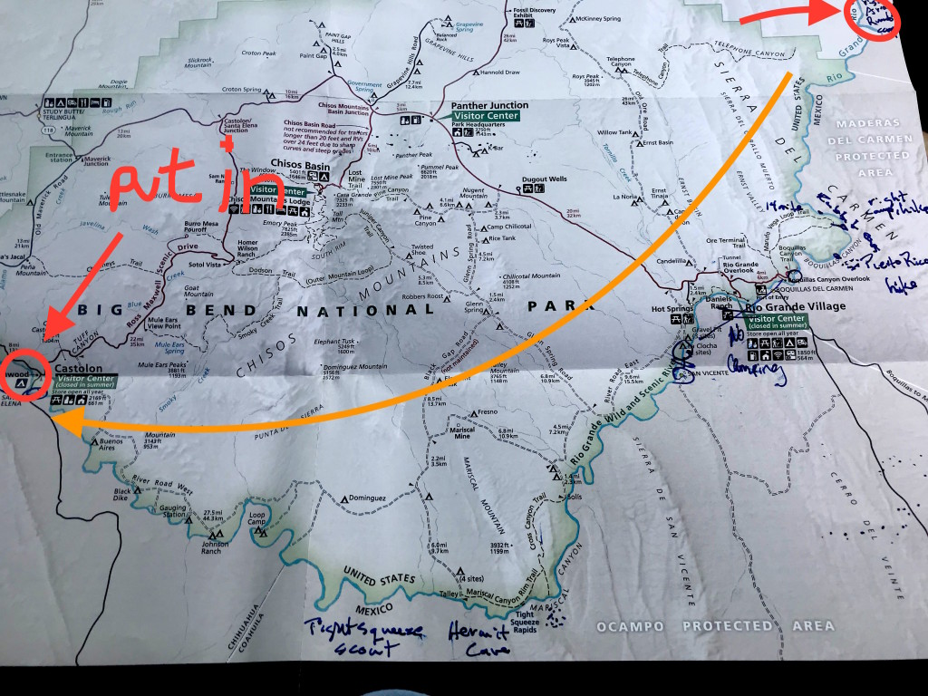 The red circles are where we put in. The flow is in the opposite direction of the arrow. The arrow was a mistake.