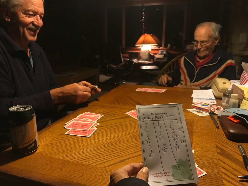 Pinochle wars. I won this night,