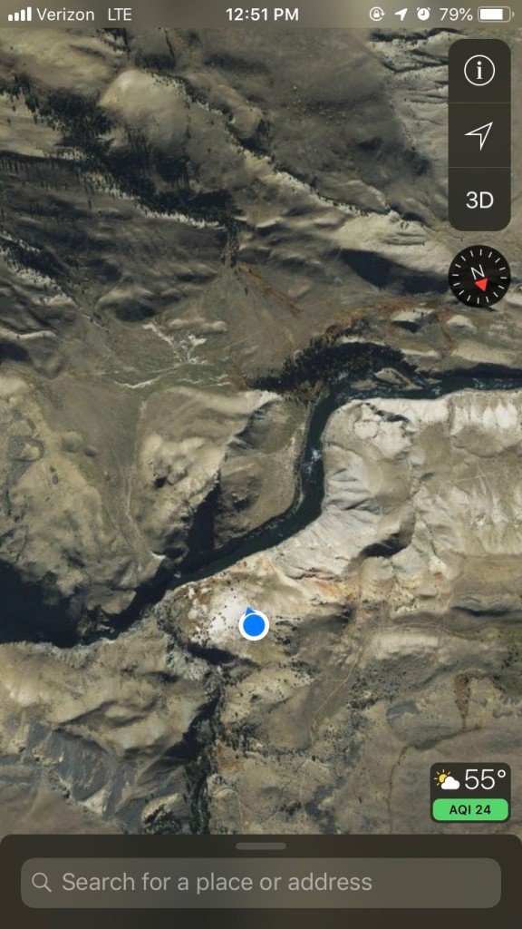 That blue dot is my location overlooking the confluence of he Yellowstone River and Bear Creek.