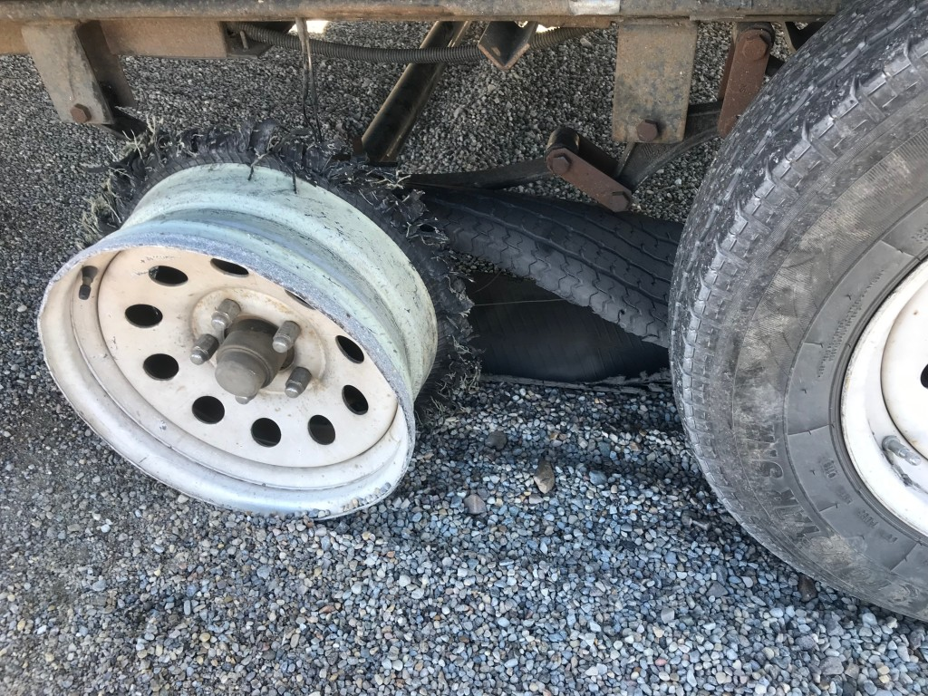 Blown out tire.